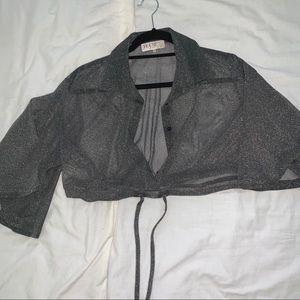 Sheer Cropped button down